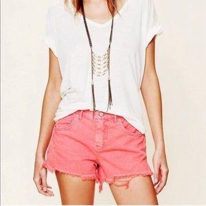 Free People Pink Denim Cut Off Shorts